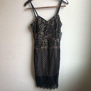Lulus black spaghetti strap lace dress